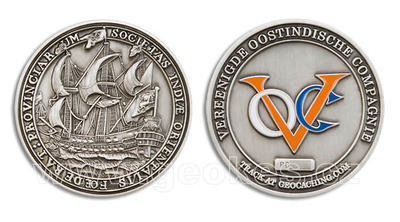 VOC Geocoin Antique Silver