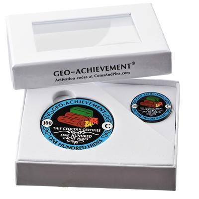 100 Hides Geocoin + odznak + krabička - 2
