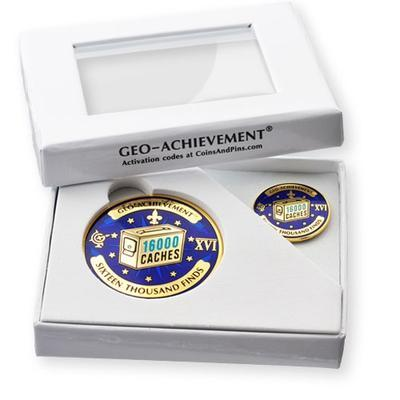 16000 Finds Geocoin + Pin + Box - 2
