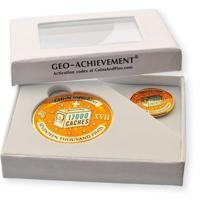 17000 Finds Geocoin + odznak + krabička - 2