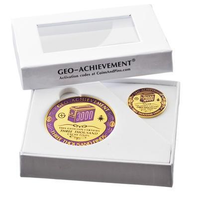 3000 Finds Geocoin + odznak + krabička - 2