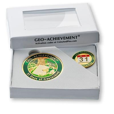 31 Days Geocoin + odznak + krabička - 2