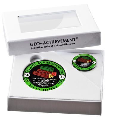 50 Hides Geocoin + odznak + krabička - 2