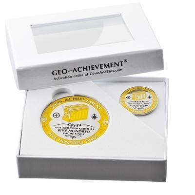 500 Finds Geocoin + odznak + krabička - 2