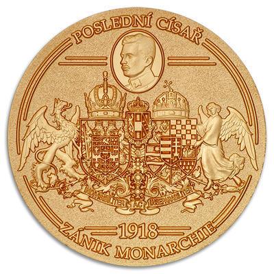 """Geocoin """"1918 - Vznik republiky / Zánik monarchie"""" - Satin Gold LE - 2"""
