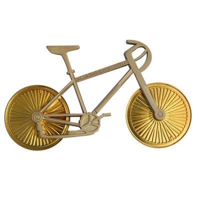 Cyklistický geocoin - Satin Nickel Bike Gold Wheels - 2