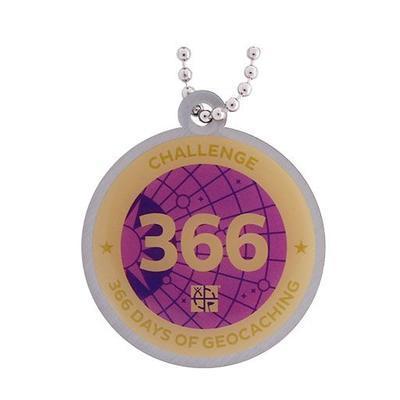 366 Days Milestone Geocoin + travel tag - 2