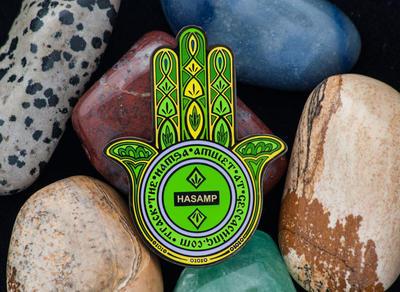 Hamsa Amulet Geocoin - Emerald - 2