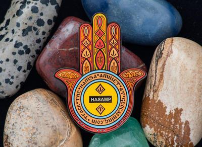 Hamsa Amulet Geocoin - Jasper - 2