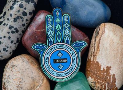 Hamsa Amulet Geocoin - Sapphire - 2
