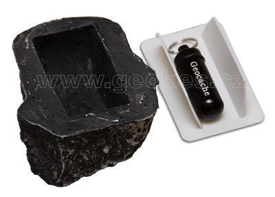 Geocache kámen - komplet včetně microcache - 2