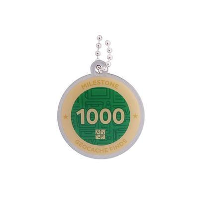 1.000 Finds Milestone Geocoin + travel tag - 2