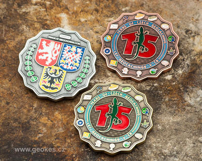 15 Years of Geocaching in Czech Republic Geocoin - Antique Silver - 3