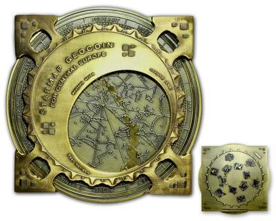 Star Map XXXXL Geocoin Antique Gold Blue - 3