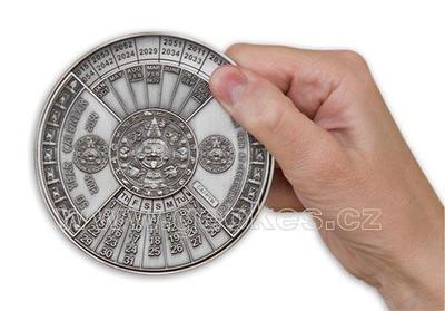 50 Years Calendar XXXL Geocoin Antique Silver - 3