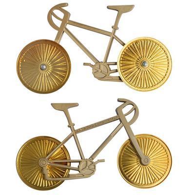 Cyklistický geocoin - Satin Nickel Bike Gold Wheels - 3