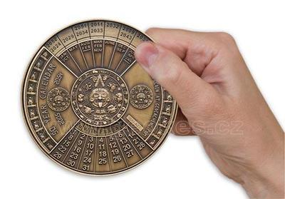 50 Years Calendar XXXL Geocoin Antique Gold - 4