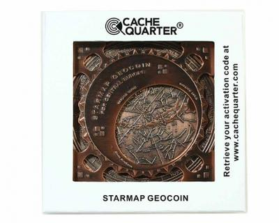 Star Map XXXXL Geocoin Antique Silver Blue - 4