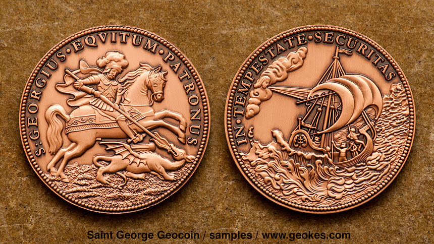 Saint George - Svaty Jiri Geocoin - Antique Copper
