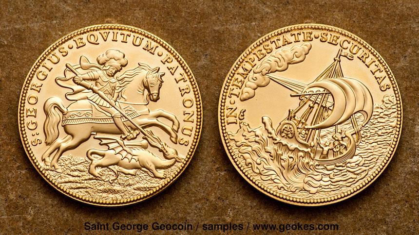 Saint George - Svaty Jiri Geocoin - Satin Gold